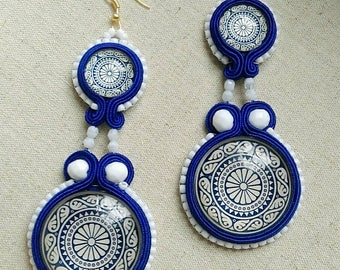 Greek style soutache earrings Katharsis blue white handmade