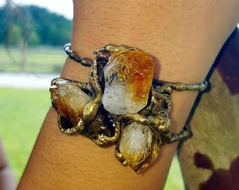 Brass Cuff Bracelet with Citrine