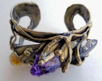 Brass Cuff Bracelet - Daisy with- Daisy with Amethyst, Citrine and Natural Crystal