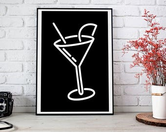 Cocktail Print, Cocktail Poster, Poster Download, Bar Decor, Party Gift, Instant Download, Poster for the kitchen, minimalist Print, 80s