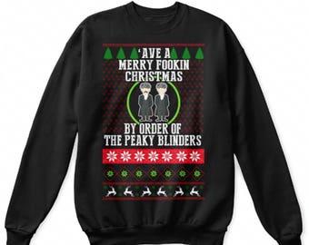 Peaky Blinders Merry Fooking Christmas Funny Novelty Christmas Jumper Sweatshirt