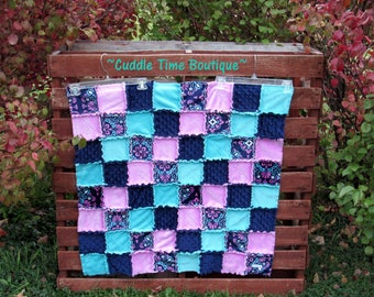 """Navy & Orchid Minky Rag Quilt 35"""" x 35"""""""