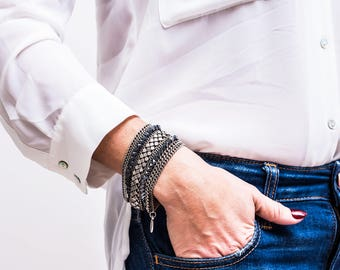 Multi silver chain bracelet, Layered Silver bracelet, Layering bracelet, Silver link bracelet, Natural stone bracelet