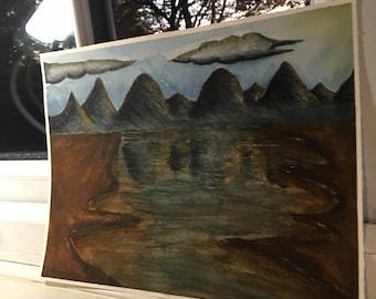 Original  sunny mountain scene