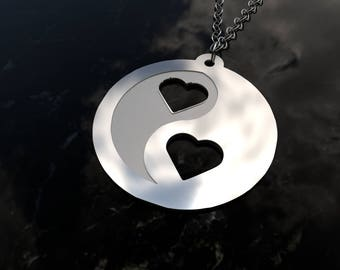 Hearts design yin yang sterling silver necklace and chain