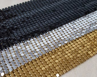 Soft Gold Metal Mesh Ribbon Silver Mesh Alloy Ribbon for DIY 45 cm Black Mesh 70s 80s Disco Style Jewelry Home Decoration