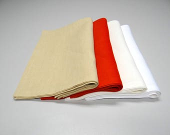 Natural linen napkins set of 6. Four colors napkins for dining. Natural fabric.