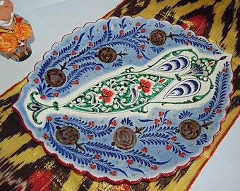 uzbek ceramic handmade painted  plate
