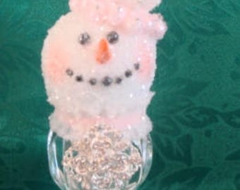 Handmade original snowman snowgirl made from a vintage toothpick holder