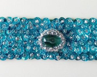 Blue, bright green Cuff Bracelet