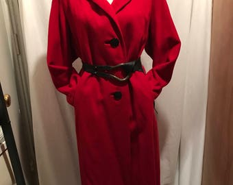 Red cashmere coat 1950's