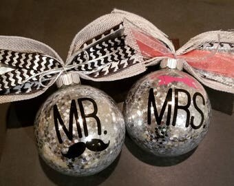 Christmas Ornaments - Silver Mr & Mrs (His and Hers) - makes a great gift and can be personalized.