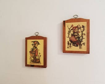 2 Vintage HUMMEL Prints on Manchester Wood - Girl with Basket of Apples and Girl in Tree