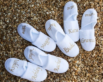 Personalised wedding Slippers, Bridal party gifts, Spa Slippers, Personalized bridal slippers,  Bridesmaid Gifts, white slippers