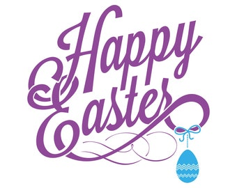 Happy Easter SVG, Happy Easter Text Overlay, Happy Easter Cut File PNG DXF, Easter Cut File, Cricut, Silhouette, Happy Easter Clip Art