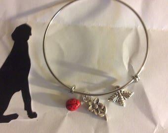 Bangle bracelet, Ladybug, Flowers and Honey Bee handcraft, free shipping