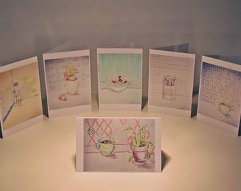 Greeting cards, pack of 5 cards (optional)