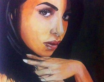 Aaliyah Original Oil Painting