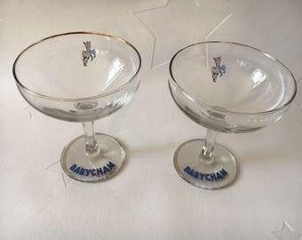 Pair Vintage 1950s Babycham Glasses. White deer decal