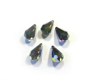 Vintage 5 x Swarovski Crystal faceted drops
