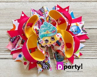 Shopkins Hair Bow, Shopkins Hairbow, Shopkins Bow, Boutique Hair Bow, Shopkins Birthday Party, Shopkins Outfit, Shopkins Cupcake Queen