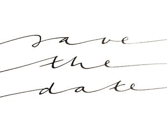 Printable wall art SAVE THE DATE handwritten lettering