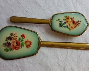 Vintage Dresser Set, Aqua With Florals, Hand Mirror And Brush