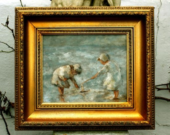 Beautiful Scottish Impressionist Oil on Wood Panel - Children Paddling