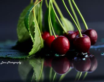 Canvas Photographic Print Cherries 20 x 30cm Wall Art