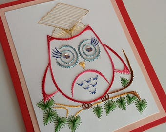 Graduation Greeting card, hand embroidered owl