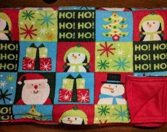 Christmas fleece blanket, holiday fleece throw, reversible