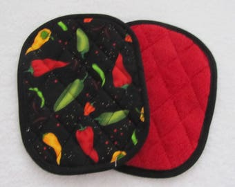 hot chili peppers potholders