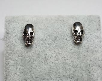 Skull earrings, silver 925 earrings, sterling silver earrings, Halloween