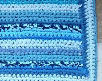 Turquoise Rug Aqua Rug Turquoise Rag Rug Crochet Blue Rug Crochet Blue Stripes Rug Blue Rag Rug Aqua Rag Rug