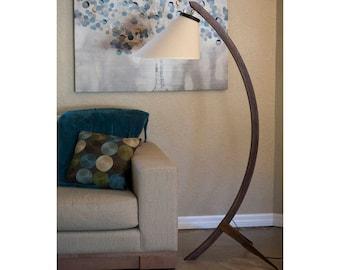 Solid Walnut Mid Century Modern Tripod Bow Lamp
