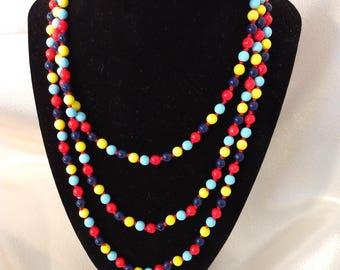 1960s Fantastic Multi-Colored Plastic Bead Necklace