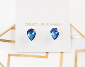 Blue Pear Shaped Earrings, Blue Bridal Earrings, Blue Bridesmaids Earrings, Blue Everyday Earrings, Blue Minimalist Earrings, Pear Earrings