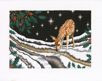 Festive Fawn- Ilustration Print