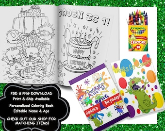 RUGRATS-Customizeable Coloring Book-PSD format-Download-10 Coloring & Activity Pages-ONCE paid file will be e-mailed-Too large to upload
