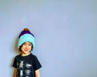 Kids Mint/Eggplant/Brown Striped Soft Wool Hand-Knit Hat