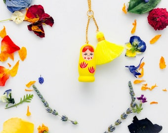 Matryoshka Charm/Tassel Necklace in Yellow