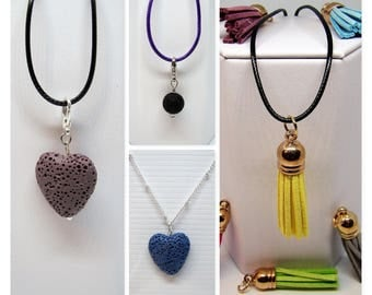 Essential Oil Aromatherapy Necklace with Lava Stones or Leather Tassels ... You Choose!!