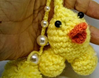 Keychain - Chick Yellow wool crocheted.