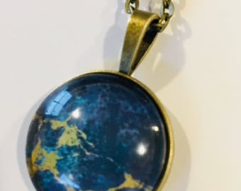 Blue galaxy pendant necklace, vintage look, multicolored flecks