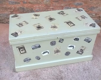 Vintage Heavy Pine Travel Trunk / Storage Chest