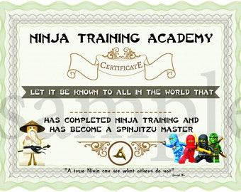 Training certificate etsy instant dl ninjago training certificate ninjago birthday party printable not personalized yadclub Choice Image