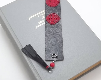 Leather Bookmark, Crochet, Red Turquoise and Steel Beads, With Leather Tassels, Cotton Thread, Best Selling Items