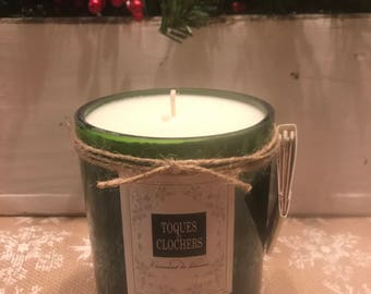 Wine bottle soy candle