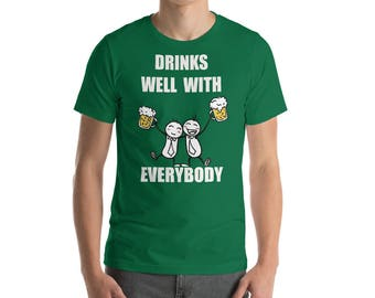 drink well with everybody, irish holiday shirt, irish drinking team, irish holiday gift, irish gift for him, funny st patricks, funny irish