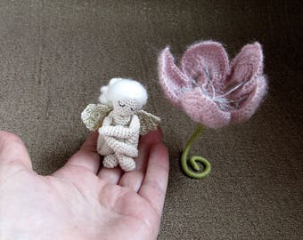 Miniature / collectible / crochet Angel / Crochet Angel in flower / Knit angel toy / Handmade / Valentine's Day gift / Easter